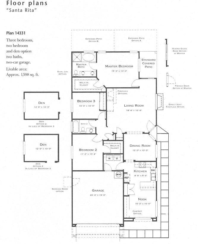 Santa rita model floor plan for Floor plan holder
